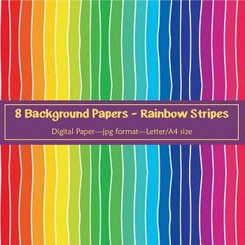 Background Paper - 8 Rainbow Stripe Designs