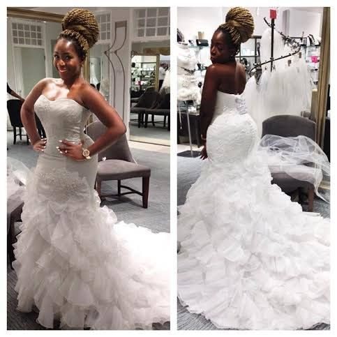 stunning missdunnieo trying on wedding dresses excited to see what dress she picks