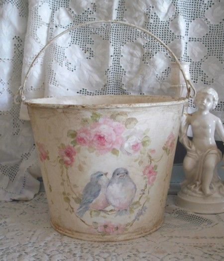 Bluebirds and Roses Hand Painted Bucket