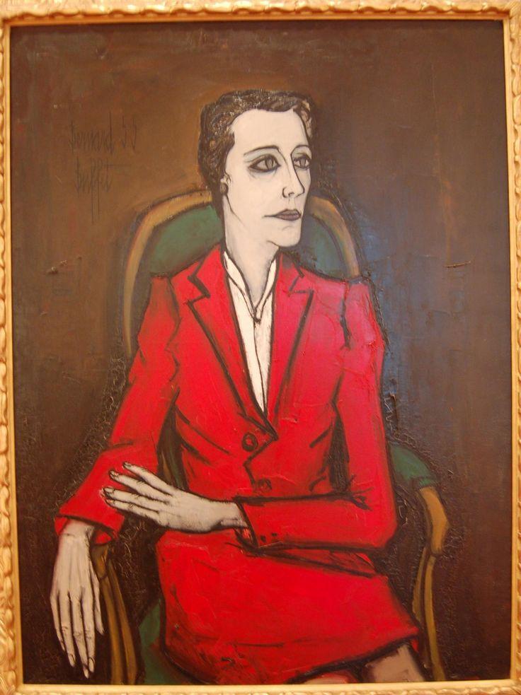 """Bernard Buffet """"Portrait of Jacqueline Delubac"""" oil on canvas, Musée des Beaux Arts de Lyon"""