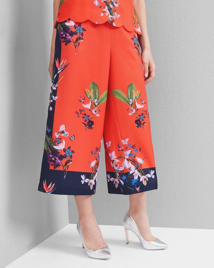 Tropical Oasis culottes - Mid Red | Trousers and Shorts | Ted Baker UK