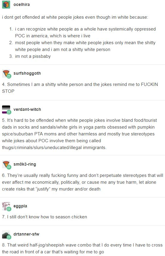 i dont get offended at white people jokes even though im white because. http://fuckyeahwomenprotesting.tumblr.com/post/162904522900/drtanner-sfw-eggpla-anar-tea