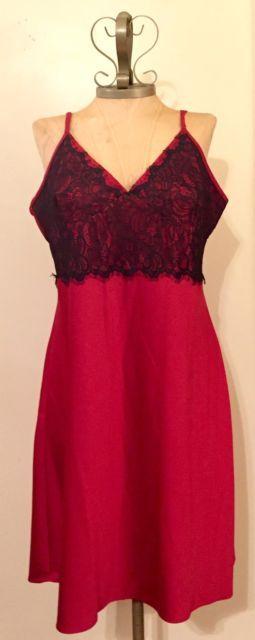 NEW California Dynasty XL Red / Black Lace Women Nightie Lingerie Dress $50 | eBay