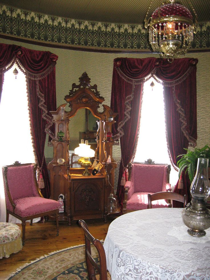 Beautiful room with impressive dresser, lovely drapes, and a magnificent iris frieze, Lowell Museum, Lowell, MI