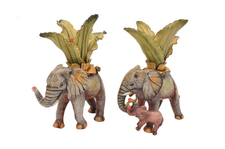 These charming Elephant Candlesticks, which show the caring nature of the iconic African giants, were created by Ardmore's matriarch, Betty Ntshingila, and painted by Wiseman Ndlovu.