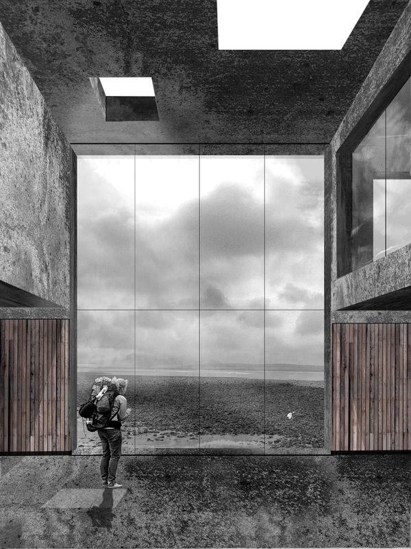 Staffage betont die Wichtigkeit des Ausblickes.  South Gare Visitor Centre by Alex McCann, via Behance