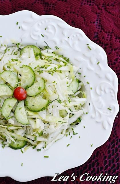 {Yummy Cucumber Cabbage Salad}
