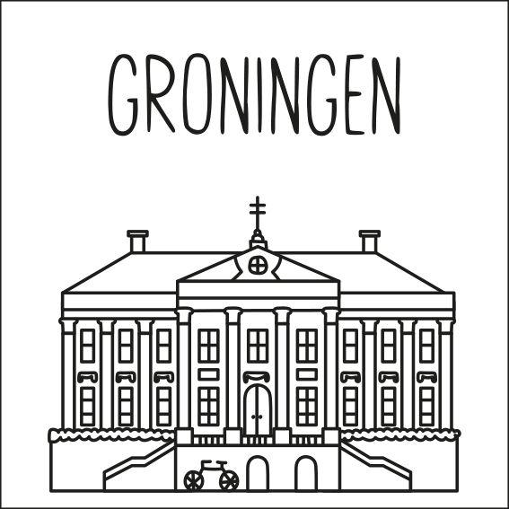 Haal een beetje van Groningen in huis met deze leuke 'straat' #raamtekening met een paar van de bekende gebouwen: Rijksuniversiteit Groningen, Poort van Pelstergasthuis, Martinitoren, Goudkantoor en Stadhuis.