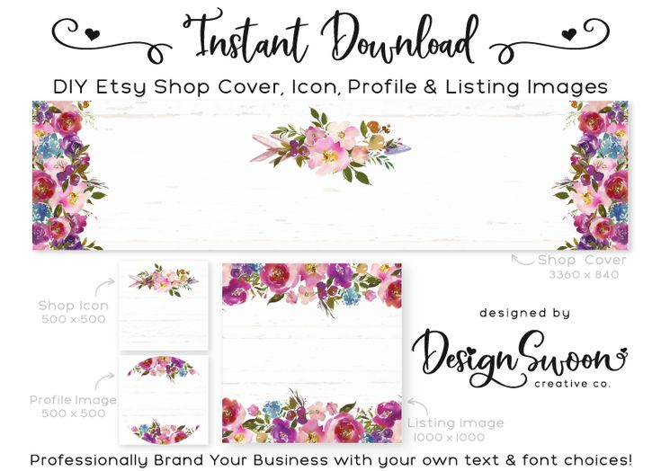 Floral Arrow DIY Etsy Set - Cover, Shop Icon, Profile, Listing Image - diy templates for small business branding, video tutorial available!