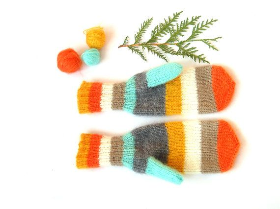 Orange women mittens knitted winter accessory by RainbowMittens, $45.00