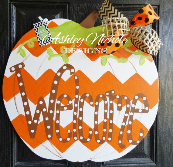 Hey, I found this really awesome Etsy listing at https://www.etsy.com/listing/195818160/chevron-pumpkin-door-hanger-door