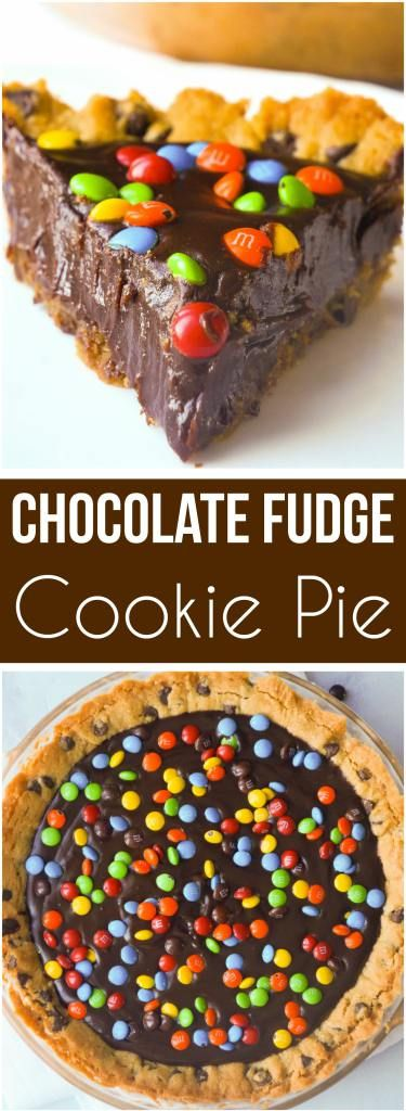Chocolate Fudge Cookie Pie is a decadent dessert for chocolate lovers. This easy pie recipe starts with a chocolate chip cookie crust with a creamy chocolate filling and is topped with mini M&Ms.
