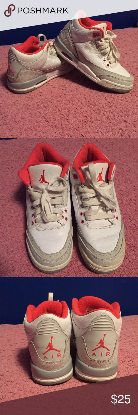 Jordan sneakers Coral and white Jordan sneakers, lightly warn, good condition Shoes Sneakers