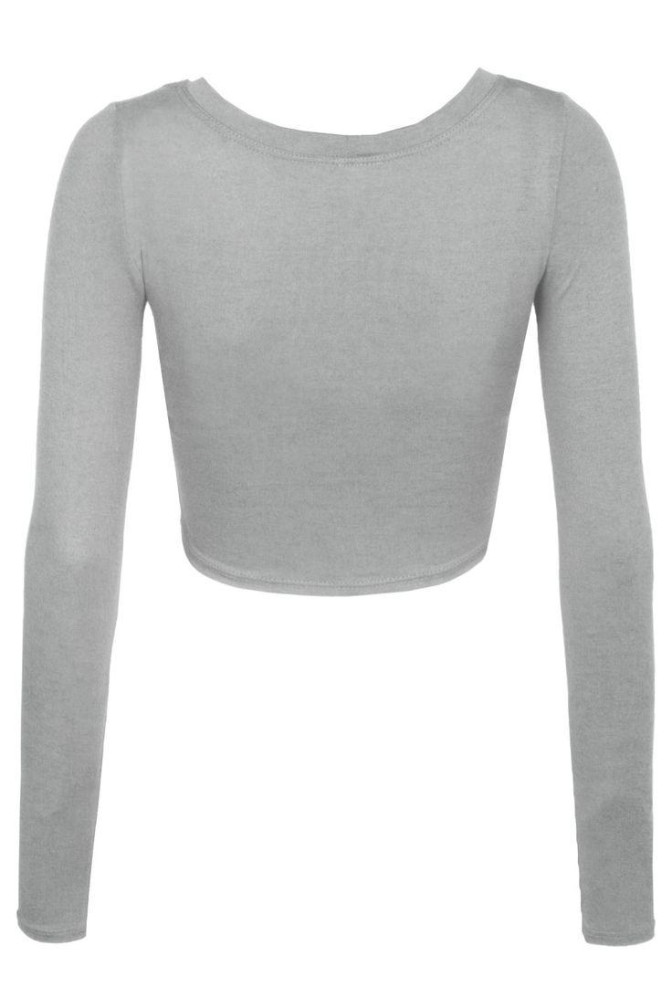Womens Lightweight Long Sleeve Scoop Neck Crop Top
