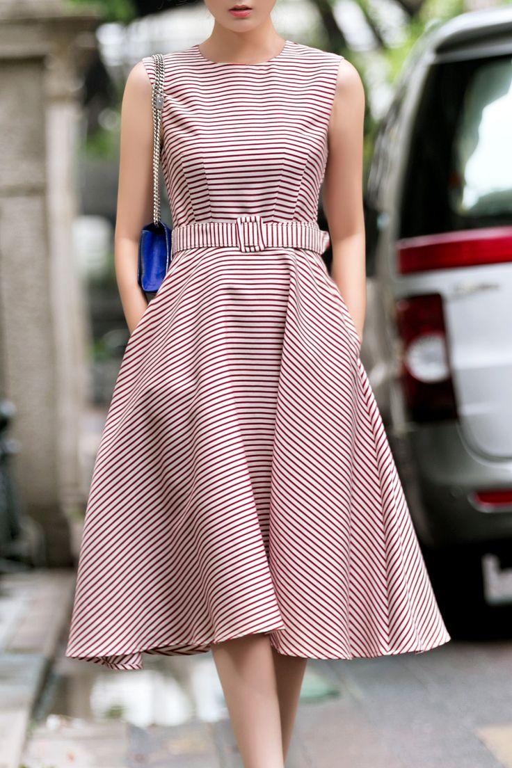 18cdy Red Retro Style Striped Dress | Midi Dresses at DEZZAL