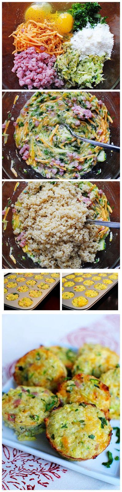quinoa, bacon, and red pepper and in regular sized muffin cups