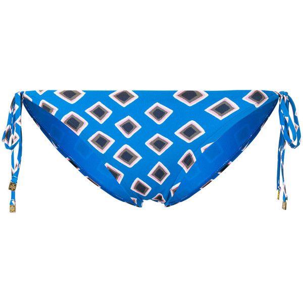 Tory Burch geometric print bikini bottoms ($116) ❤ liked on Polyvore featuring swimwear, bikinis, bikini bottoms, blue, tory burch swimwear, polka dot bikini bottoms, swim bikini bottoms, blue polka dot bikini and geometric bikini