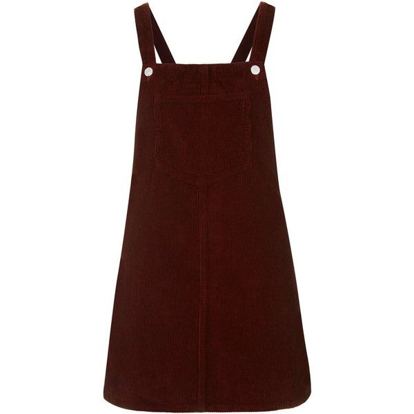 TOPSHOP TALL MOTO Cord Pinafore Dress (£39) ❤ liked on Polyvore featuring dresses, burgundy, red dress, topshop dresses, button dress, pinafore dress and tall dresses