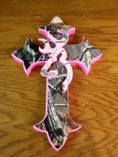 Real tree camo & pink browning symbol cross by CrossesbyDD on Etsy, $20.00