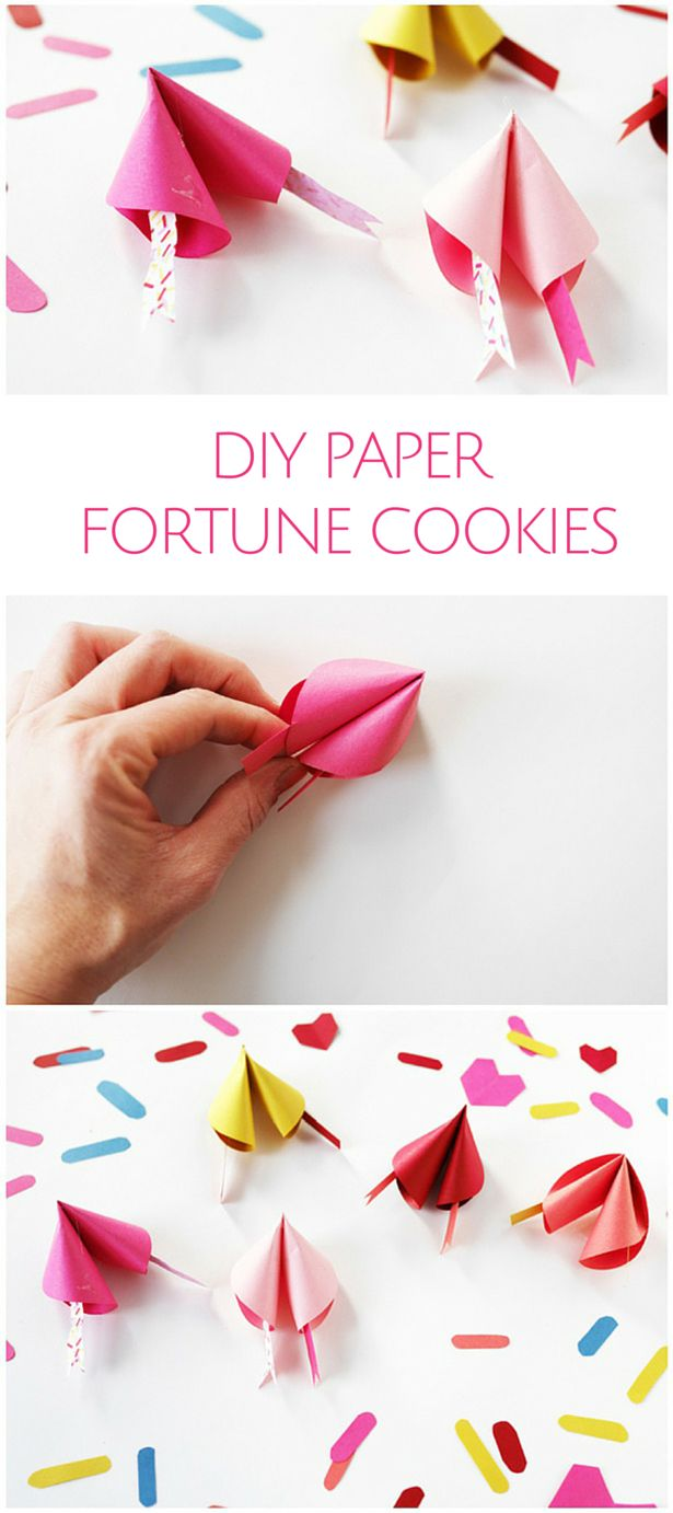 DIY Colorful Paper Fortune Cookies. Make these cute fortunes for Valentine's Day or any special celebration or party to place a secret message inside!