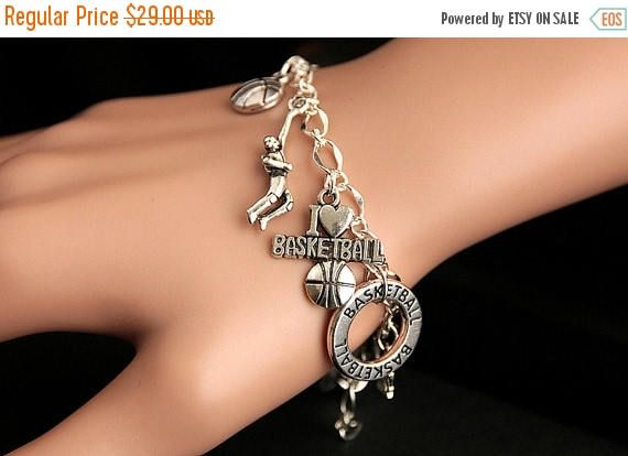 EASTER SALE Basketball Bracelet. Basketball Charm Bracelet. Basketball Lover Bracelet. Silver Bracelet. Basketball Jewelry. Handmade Jewelr by GatheringCharms from Gathering Charms by Gilliauna. Find it now at http://ift.tt/2pfniE4!