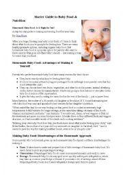 English worksheet: Baby food ( article)