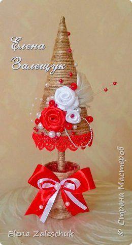 Поделка изделие Новый год Рождество Моделирование конструирование Елочки прибывают Бусины Картон Кружево Ткань Шпагат фото 6