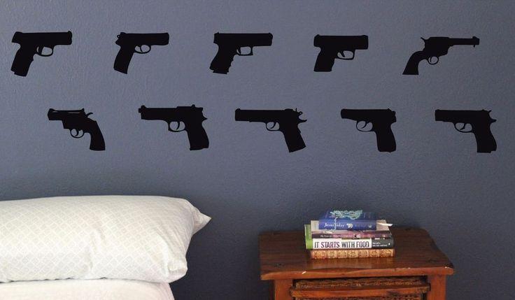 Hand Guns Set 10 wall decal decoration removable sticker ammo man cave Gun #Oracal