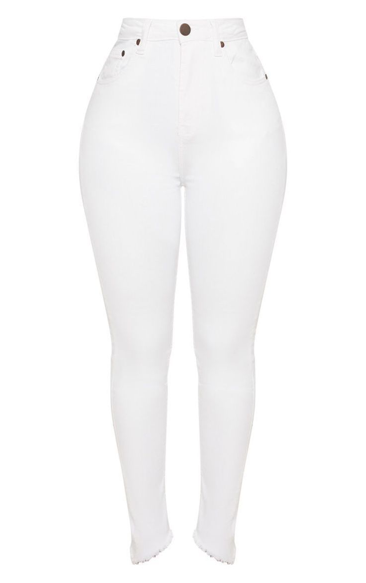 Form Weisse Rohrenjeans Mit Hoher Taille High Waisted Skinny Jeans White High Waisted Jeans Skinny Jeans