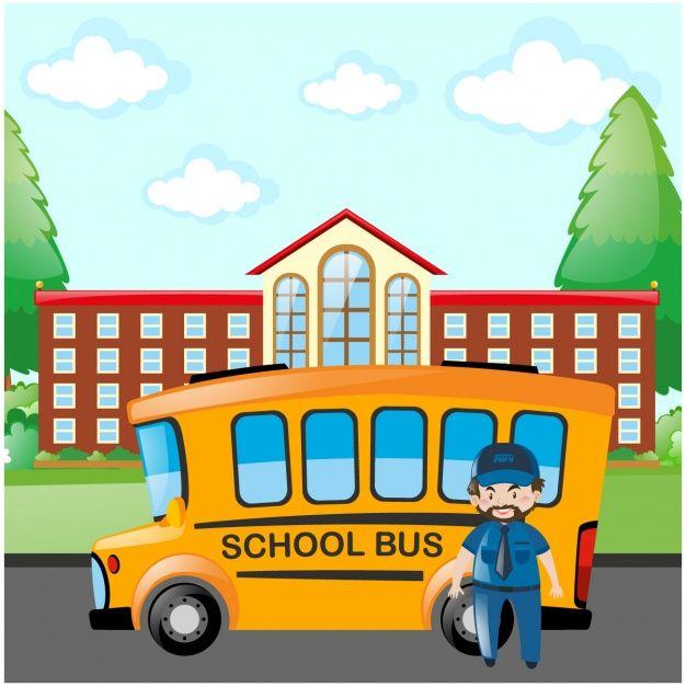 School bus background design Free Vector