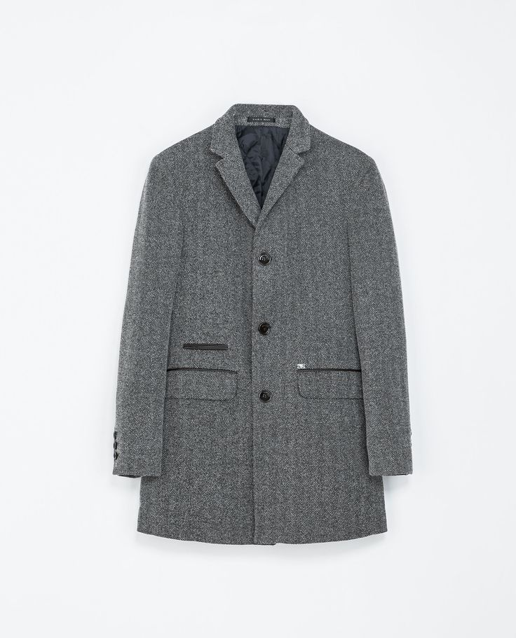 Zara HERRINGBONE COAT WITH CONTRASTING FAUX LEATHER DETAILING  Ref. 6861/390  199.00 CAD               OUTER SHELL  80% POLYESTER, 20% COTTON  LINING  100% POLYESTER  FILLING  100% POLYESTER