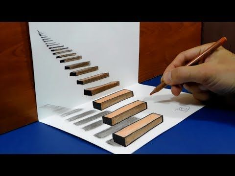 How to Draw Water Drop With Charcoal Pencil - Trick Art on Line Paper - Anamorphic Illusion - YouTube