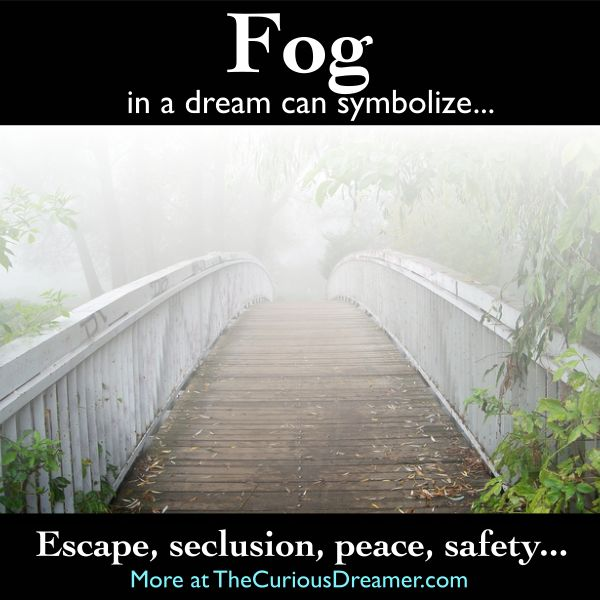 Fog in a dream can mean... More at TheCuriousDreamer.com... ‪#‎dreammeaning‬ ‪#‎dreamsymbols‬