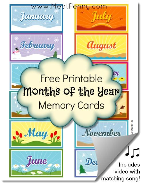 FREE Months of the Year printable memory cards. This post also has a video with the matching song!