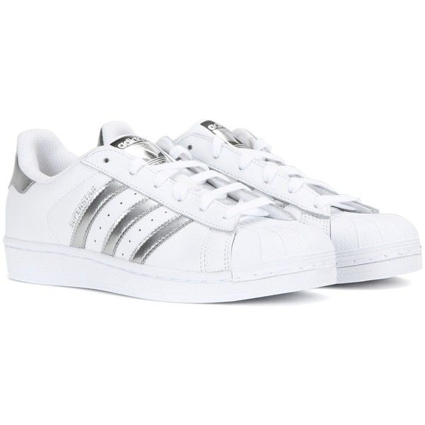 Adidas Superstar Leather Sneakers (2.345 CZK) ❤ liked on Polyvore featuring shoes, sneakers, white, white trainers, real leather shoes, adidas shoes, adidas sneakers and leather trainers