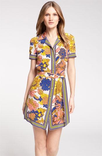Trina Turk Print Silk Shirtdress