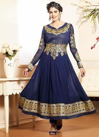 Navy Blue Georgette Anarkali Style Salwar Kameez Online ,Indian Dresses