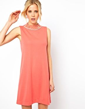 Image 1 of ASOS Shift Dress With Embellished Collar