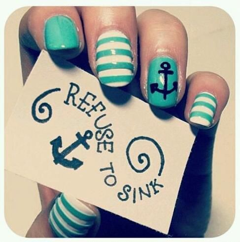 refuse to sink: Nails Art, Anchors Nails, Nails Design, Color, Beautiful, Nails Ideas, Sweet Nails, I Refuse To Sinks Nails, Nautical Nails