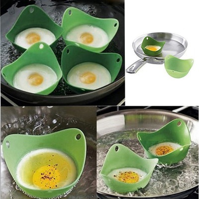 Pack of 4 Silicone Egg Poacher Pods Poach Steamer Baking Cup Set Cup Cooking Kit | eBay