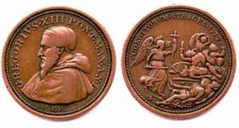 Medal Struck by Emperor Gregory XIII (1572-85) to commemorate the slaughter of the Huguenots on St. Bartholomew's Day