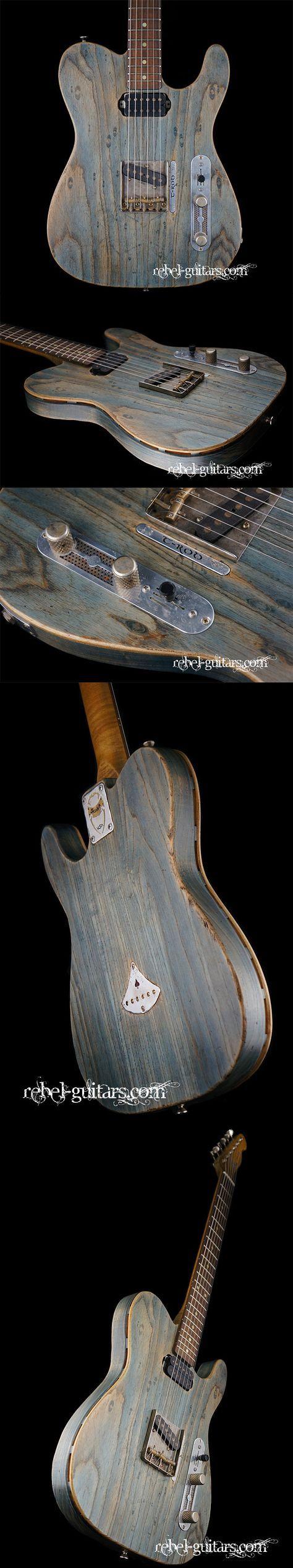 Scala Guitars T-Rod Prototype in Worn Denim. More at: http://rebel-guitars.com/scala-guitars-t-rod-prototype-in-worn-denim/