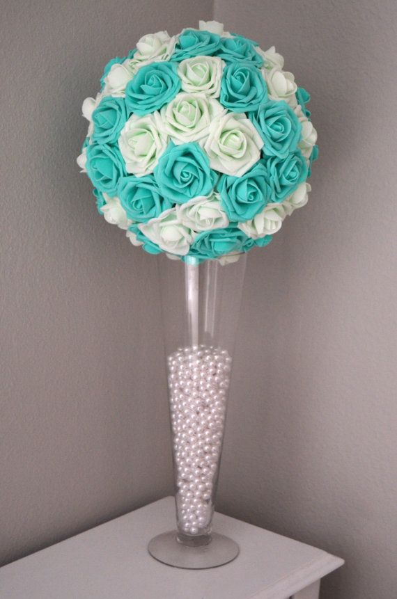 Robin Blue And Light Mint Flower Ball. Kissing by KimeeKouture