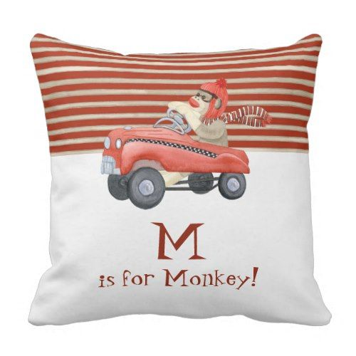 Retro Sock Monkey w Pedal Automotive Child Boy Presents Throw Pillow.  See even more at the image link