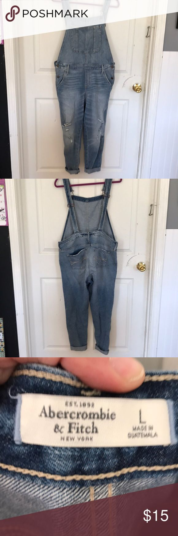 Overalls Size large Abercrombie & Fitch skinny jean overalls. Distressed. Recent posh purchase. Jus didn't work out for me. Abercrombie & Fitch Jeans Overalls