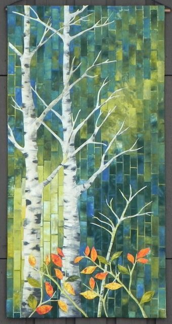 Alberta Trees #3 by Wendy Greber. Techniques from Gloria Loughman. Excellence for Work by a First Time Exhibitor. National Juried Show 2015 ~ Canadian Quilters' Association.