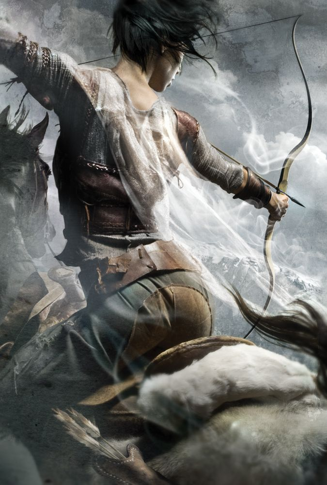 very cool angle for a female warrior shooting bow & arrow from galloping horse: painting by Cliff Nielsen