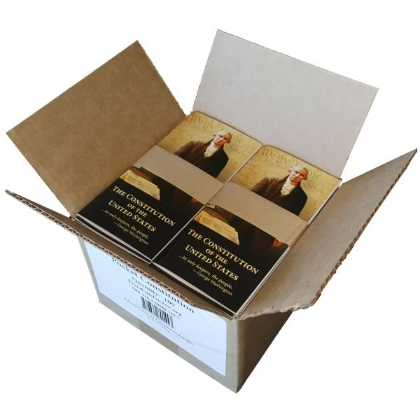 This 52-page pocket sized booklet contains the United States Constitution (including The Bill of Rights and Amendments 11-27) and The Declaration of Independence. Its dimensions are 3.25″ X 6.5″.  These booklets are sold in box quantities of 100 (ie. a quantity of 1 = 100 copies).  Individual copies can be purchased starting at $1 each.  Click here to buy just a few copies.  Spanish copies are now available.  Click here to see pricing.
