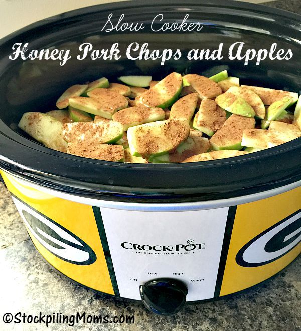 Slow Cooker Honey Pork Chops and Apples is a great crockpot recipe with only 4 ingredients!  It is also gluten free, paleo and full of taste.