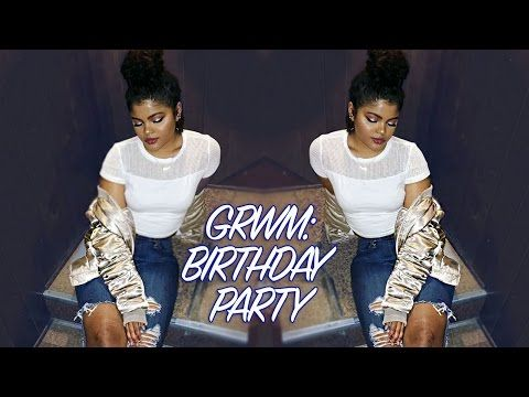 GRWM Curly Bun & Makeup // BIRTHDAY PARTY - YouTube